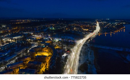 Aerial night view of major road in Latvia: Riga-Daugavpils (A6) in Ogre town