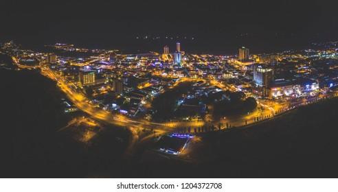 Aerial Night View of Miri, Sarawak.