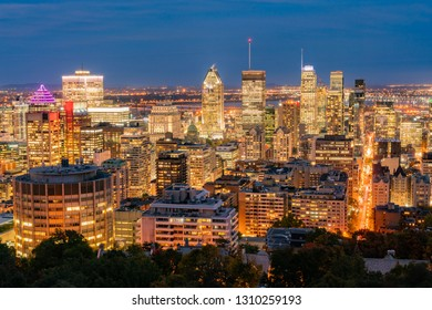 Aerial night view of Montreal downtown cityscape from Royal Mountain at Quebec, Canada