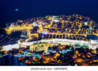 Aerial night view on Dubrovnik Old town with Adriatic Sea, Croatia