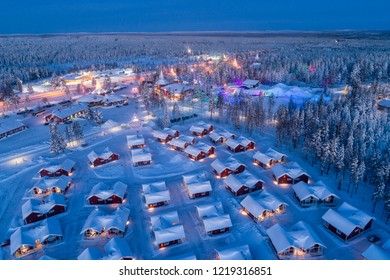 Aerial night view of Santa Claus Village in Rovaniemi in Lapland in Finland.