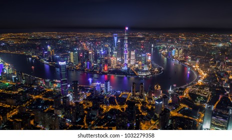 Aerial night view of Shanghai skyline