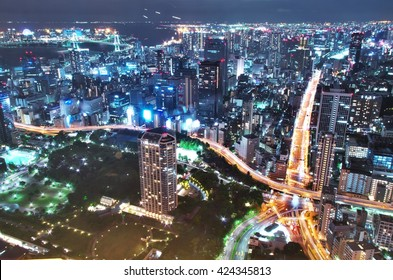 Aerial night view of Tokyo Cityscape and the Rainbow Bridge from Tokyo Tower Special observation room