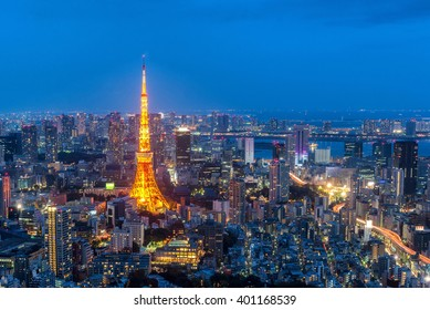 aerial night view of tokyo tower from Mori tower , roppongi hills , tokyo