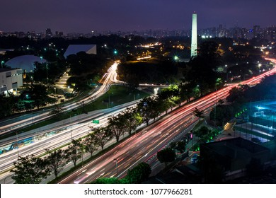 Aerial night view of traffic on the famous 23 de Maio Avenue in Sao Paulo, Brazil. This avenue run past Ibirapuera Park.