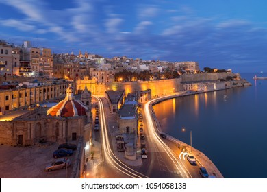 Aerial night view of Valletta Waterfront, Malta