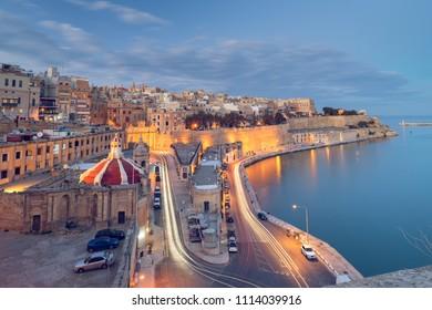 Aerial night view of Valletta Waterfront, Malta