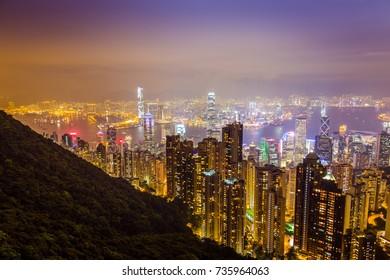 Aerial Night View from Victoria Peak in Hong Kong, Beautiful Wallpaper