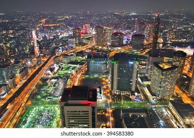 Aerial night view of Yokohama Cityscape