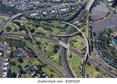 Aerial of Oahu Freeway Interchange - Hawaii
