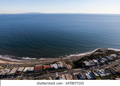 Aerial of ocean view housing in near Topanga Canyon and Pacific Coast Highway in Los Angeles, California.