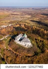 Aerial: Oleskiy Castle, located in Lviv Oblast, Ukraine