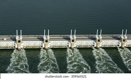 Aerial of the Oosterscheldekering, a storm surge barrier which is part of the delta works to protect Holland from high sea level