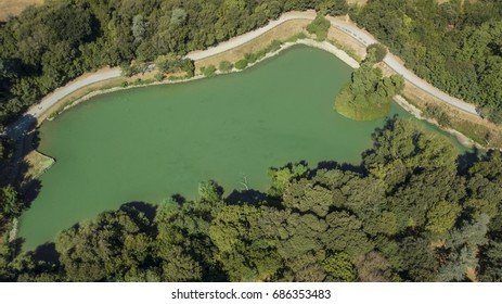 Aerial orthogonal view of the small lake located in the park of Villa Doria Pamphilj in Rome. Inside the Monteverde district is also located near Trastevere.