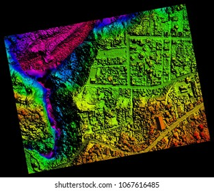 Aerial Orthorectified, Orthorectification Digital Elevation Model Of Banos De Agua Santa San Martin Canyon Altitude Represented From Blue To Red