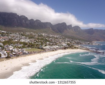 aerial over Camps Bay, Cape Town, South africa