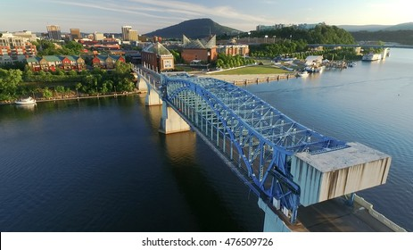 Aerial over Chattanooga Riverfront and Downtown at sunset