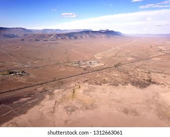 aerial over a desert town