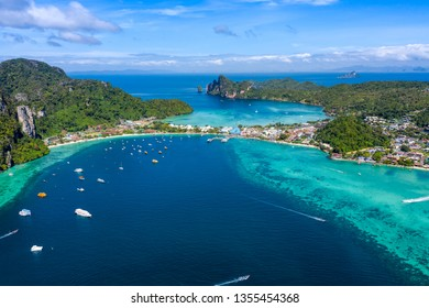 aerial over view phi phi island amazing Thailand  landmark in Thailand high season october to april for travel tourists thai and foreign