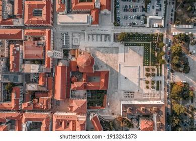 Aerial overhead drone shot of old town square on Zadar peninsula in sunrise in Croatia