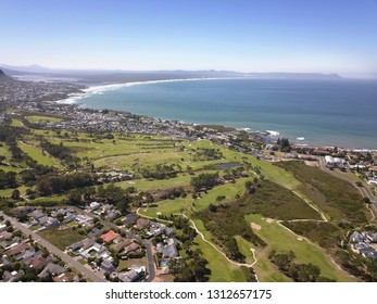 aerial overhead small coastal town of Hermanus, South Africa