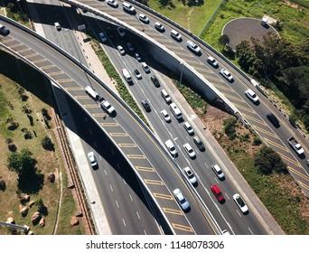 Aerial overhead traffic in highway