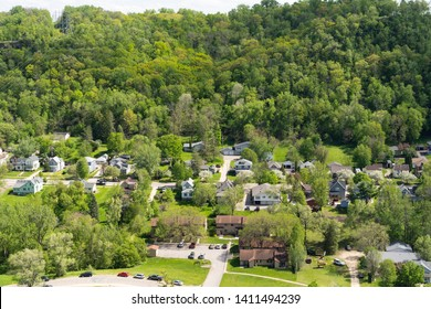 Aerial overhead view of a residential neighborhood in Red Wing Minnesota during the spring.
