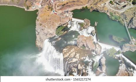 Aerial overhead view of Shoshone Falls in Twin Falls, Idaho, USA.