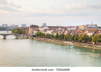 Aerial overview of Basel cityscape in Switzerland