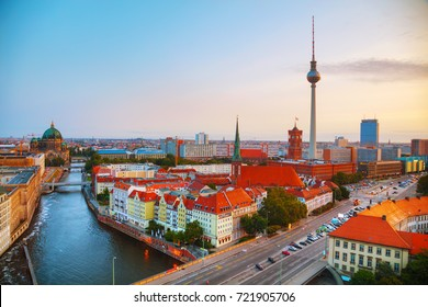Aerial overview of Berlin, Germany at the sunrise