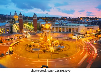 Aerial overview on Plaza Spain in Barcelona, Spain at night