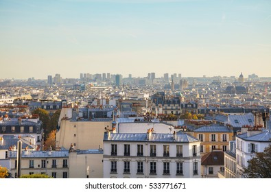 Aerial overview of Paris as seen from Monmartre Butte