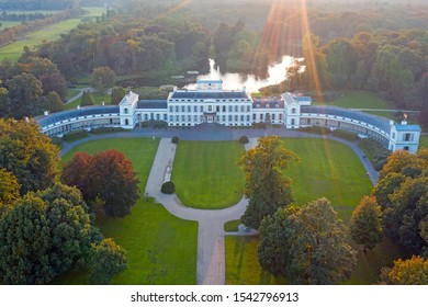 Aerial from palace Soestdijk in the Netherlands at sunset