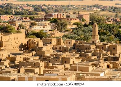 Aerial panorama of Al Qasr, old village in Dakhla Desert, Egypt