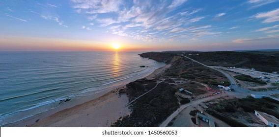 Aerial panorama from Amado beach at the westcoast in Portugal