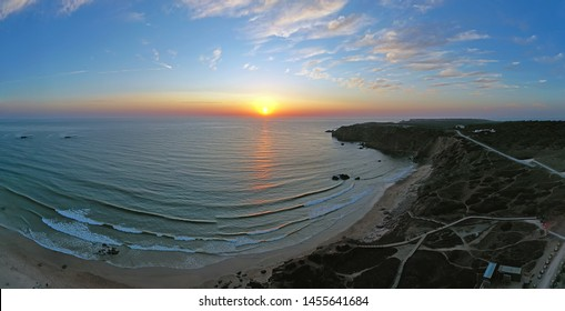 Aerial panorama from Amado beach at the westcoast in Portugal at sunset