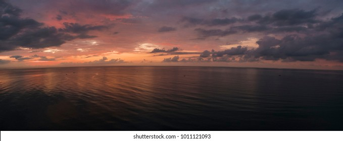 Aerial Panorama of the Amazing Sunset in the Ocean, Bali, Indonesia