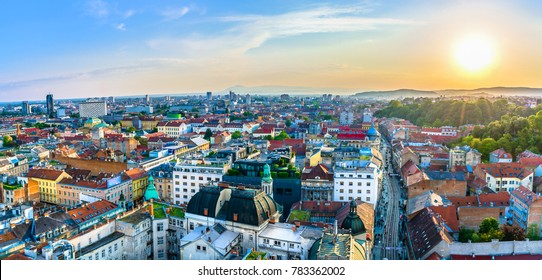 Aerial panorama of amazing Zagreb cityscape in sunset time, european travel destinations.