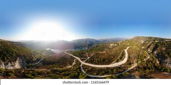 Aerial panorama of Arminou Dam in Troodos Mountains, Cyprus, close to Kelefos Venetian Bridge