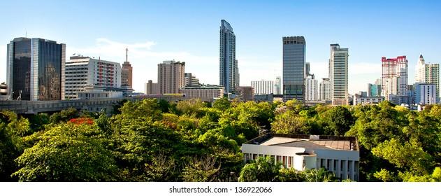 Aerial panorama of Bangkok, Thailand