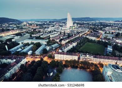 Aerial panorama of Basel. Basel, Basel-Stadt, Switzerland.