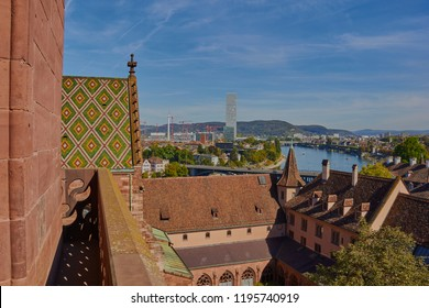 Aerial panorama of Basel of the top of the munster (church). Basel, Basel-Stadt, Switzerland.