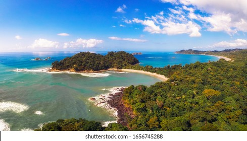 Aerial panorama of a beach located in the Manuel Antonio National Park, Costa Rica