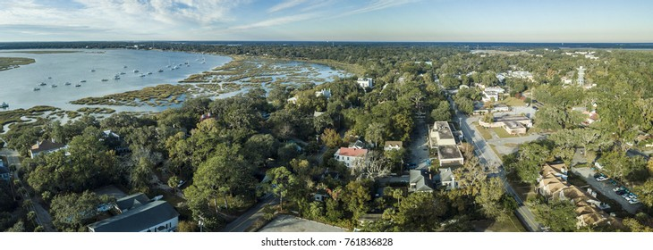 Aerial panorama of Beaufort, South Carolina, USA