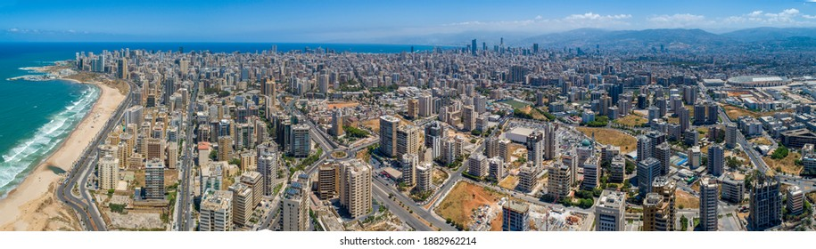 An aerial panorama of the Beirut area