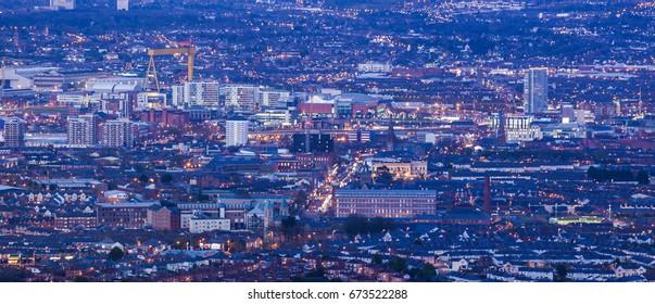 Aerial panorama of Belfast. Belfast, Northern Ireland, United Kingdom.