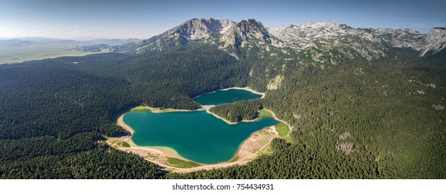Aerial panorama of Black Lake in Durmitor park, Montenegro