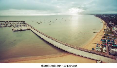 Aerial panorama of Blairgowrie Marina on Mornington Peninsula in the morning. Melbourne Victoria, Australia. Toned image