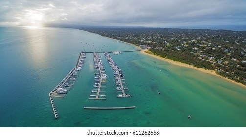 Aerial panorama of Blairgowrie Marina on Mornington Peninsula. Melbourne Victoria, Australia