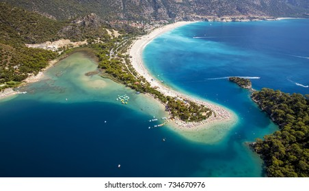 Aerial panorama of Blue Lagoon in Oludeniz, Turkey